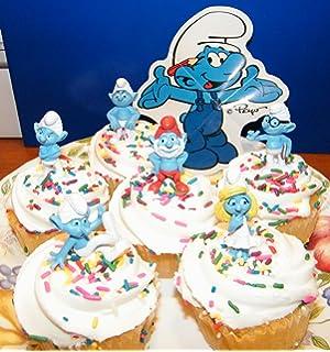 NEW DESIGN CUPCAKE BIRTHDAY CAKE TOPPER SMURF SMURFS POP TOP 4 PIECE