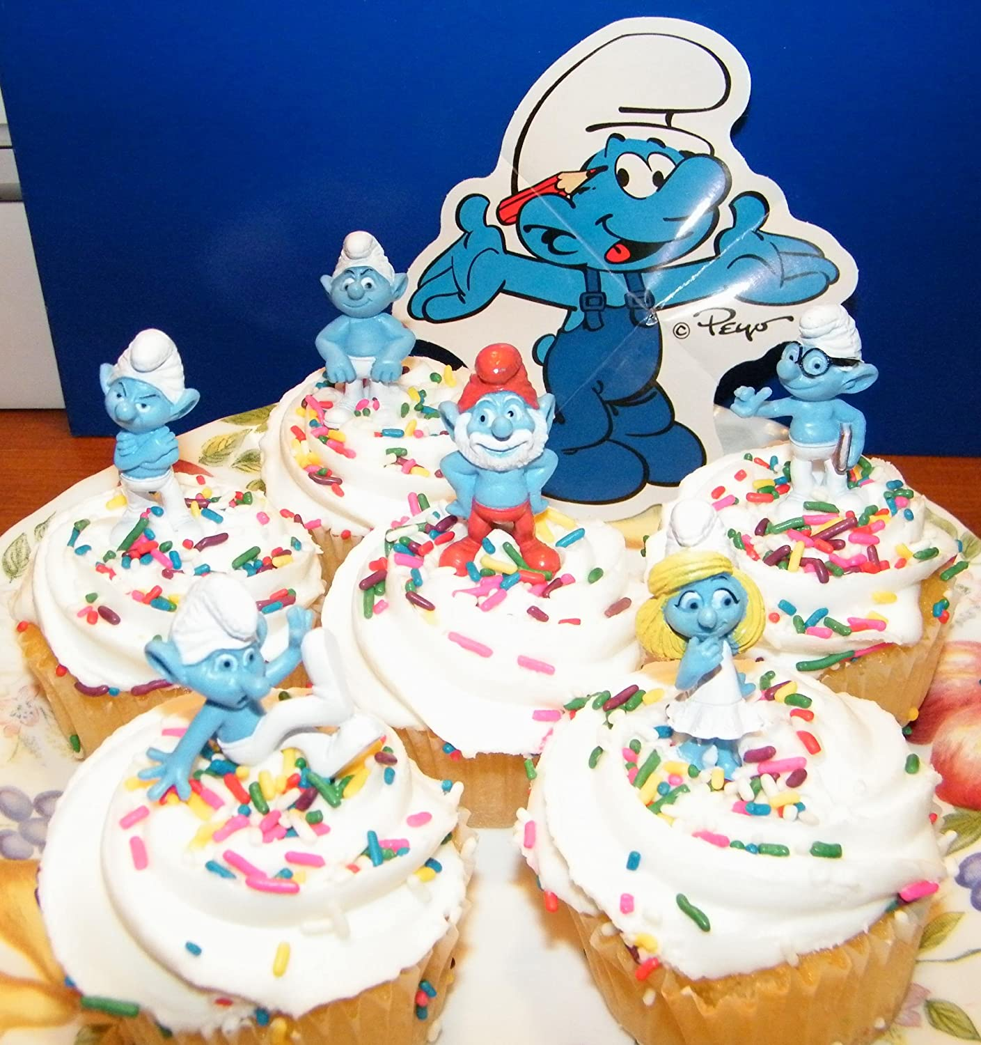 Amazon Smurf Cake Toppers Cup Cake Decoration Figures by AA