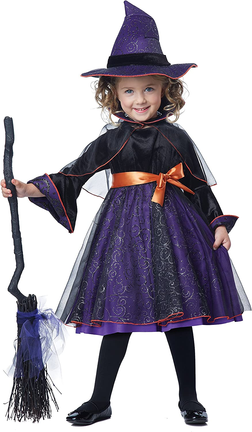 Kids Star Witch Costume Dress with Multi-Coloured Skirt and Tall Hat