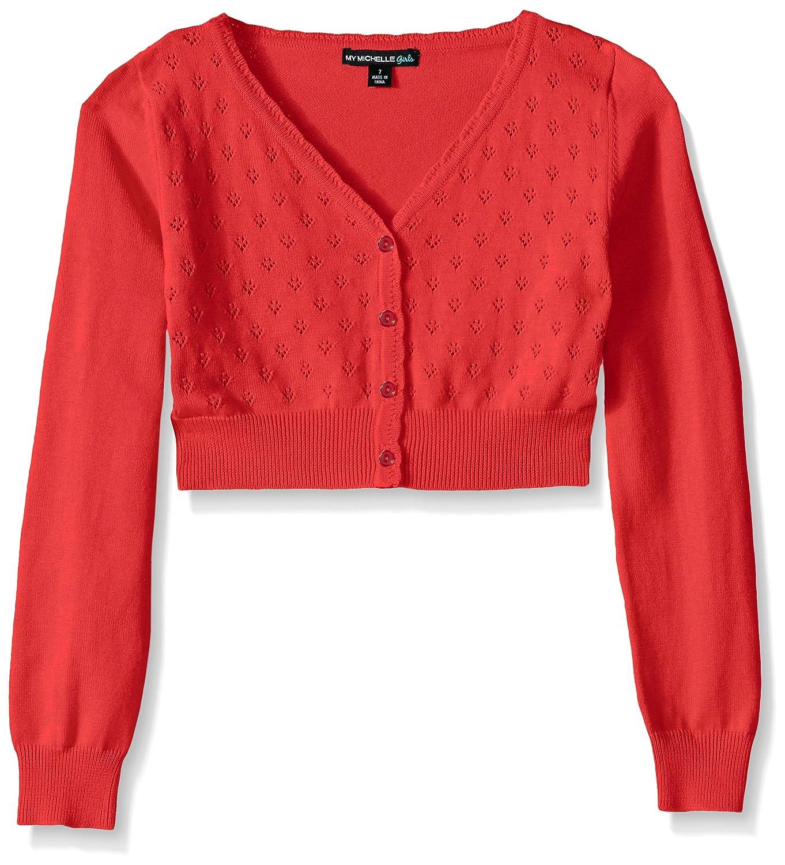My Michelle Big Girls' Heart Pointelle Long-Sleeve Cardigan Sweater 8467DC8G