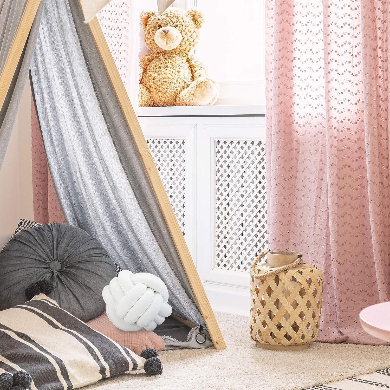 Blanco Relaxdays Poli/éster y Gomaespuma /Ø 25 cm Coj/ín Nudo con Dise/ño N/órdico para el Sof/á