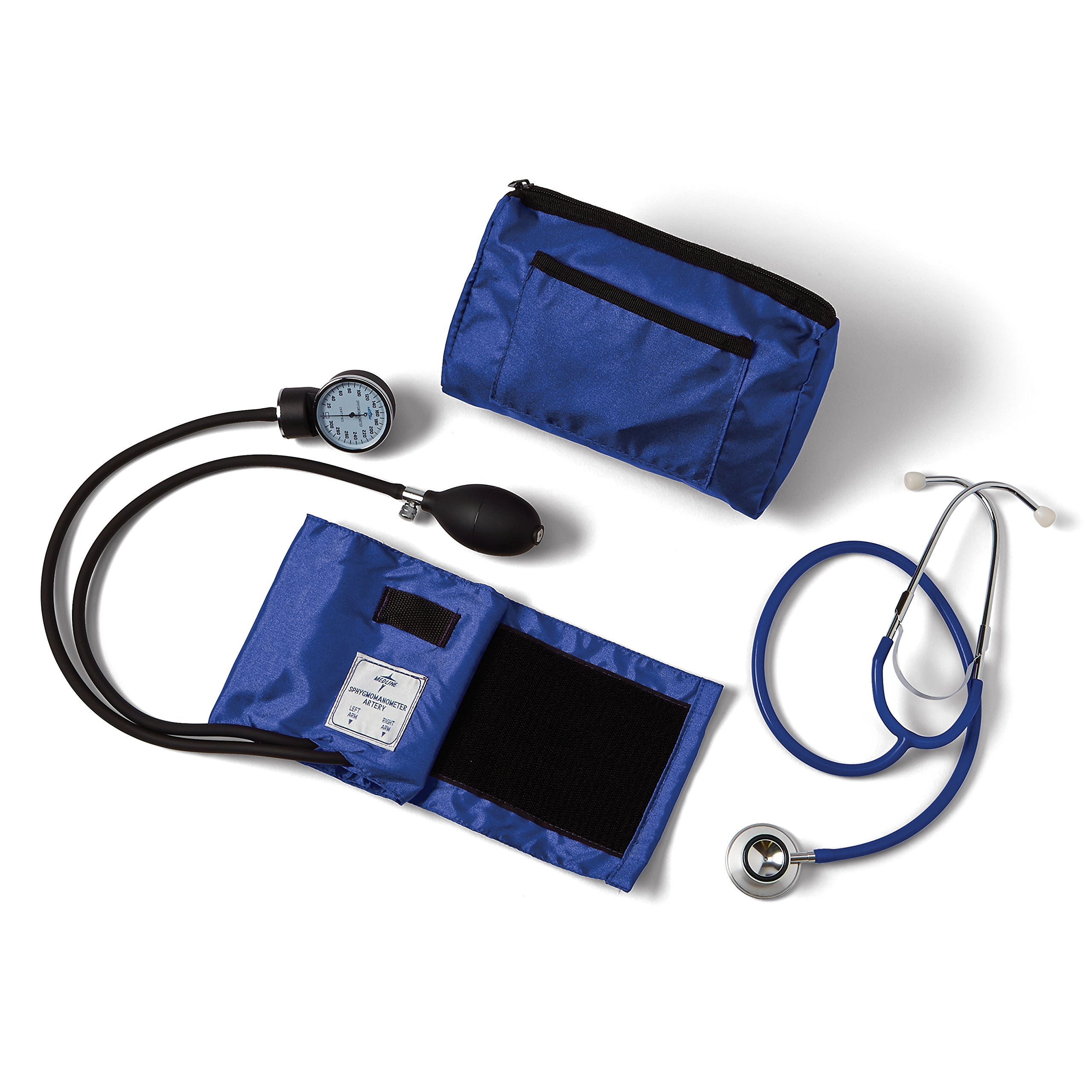 Medline Compli-Mates Aneroid Sphygmomanometer and Dual Head Stethoscope Kit, Carrying Case, Adult Blood Pressure Cuff, Manual, Professional, Royal Blue