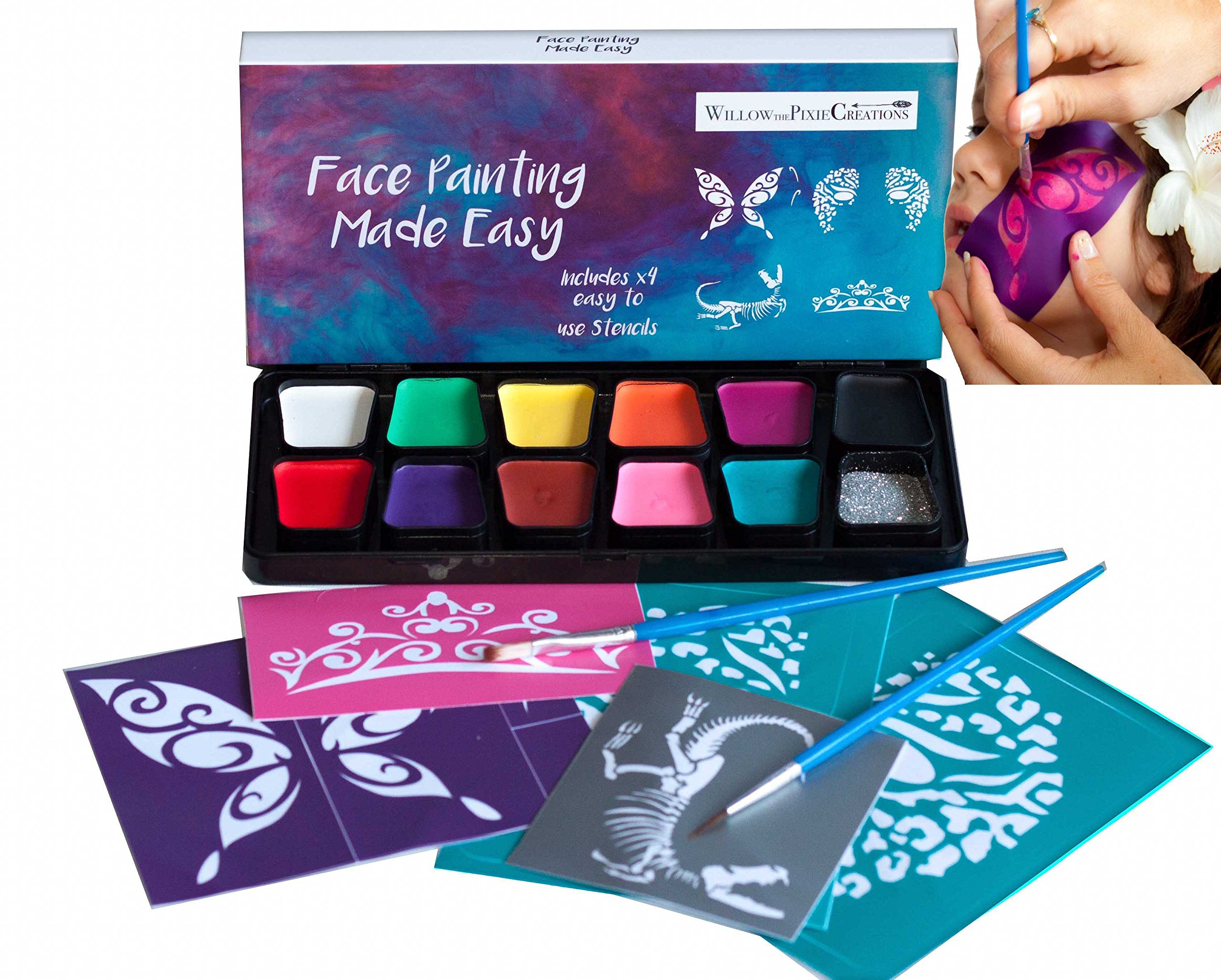 Face Paint Kit, Face Paint Kit With Stencils, Face Painting Kit - Face Painting Kit With Stencils By Willow The Pixie Creations - Non Toxic, 11 Vibrant Colours, Glitter, Hypo Allergenic, Paraben Free,