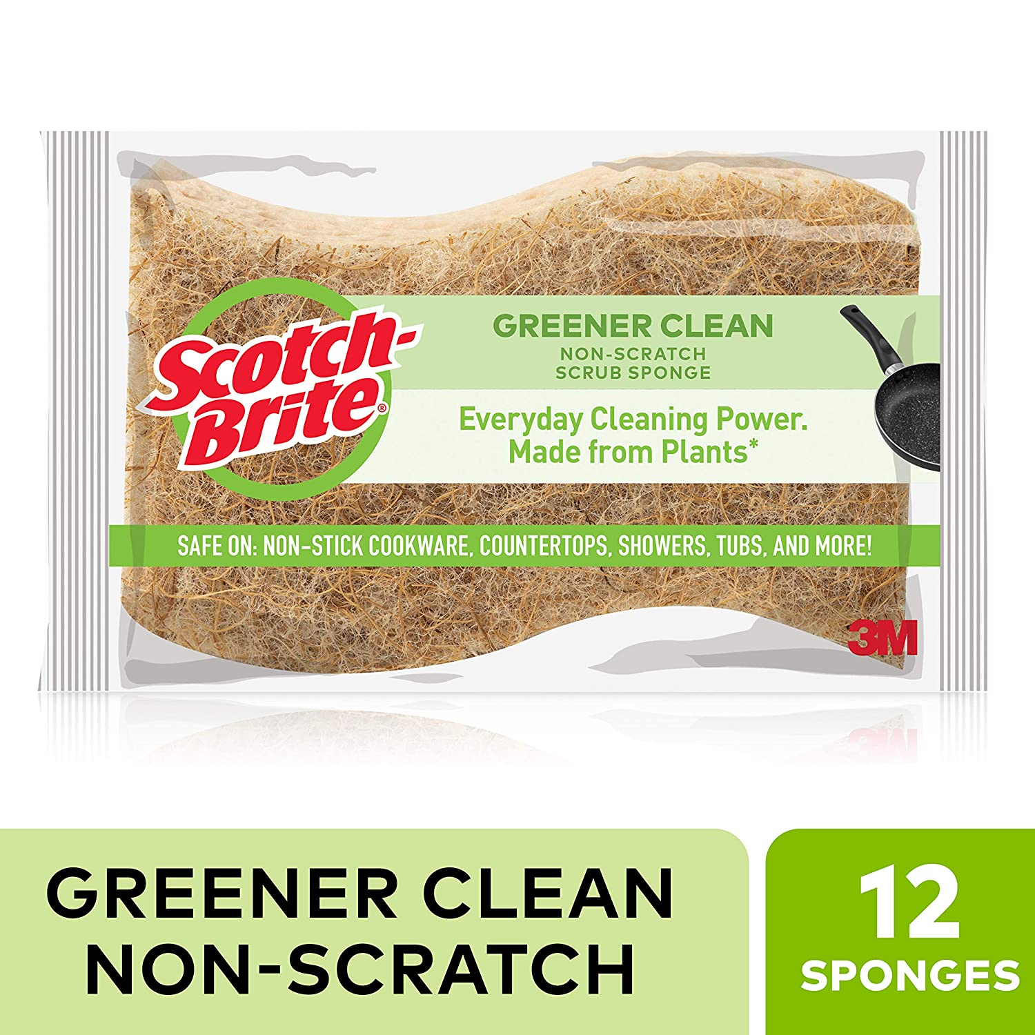 Scotch-Brite Greener Clean Natural Fiber Non-Scratch Scrub Sponge, Everyday Cleaning Power. Made from Plants, 12 Scrub Sponges