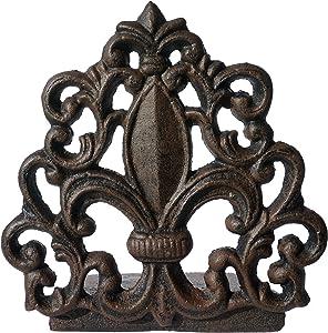 LuLu Decor, Cast Iron Fleur De Lis Door Stop, Door Stopper in Antique Black Finish, Beautiful and Useful Product, Simply Insert Flat Base Underneath Your Door Space, Works Great (LB15BK3)