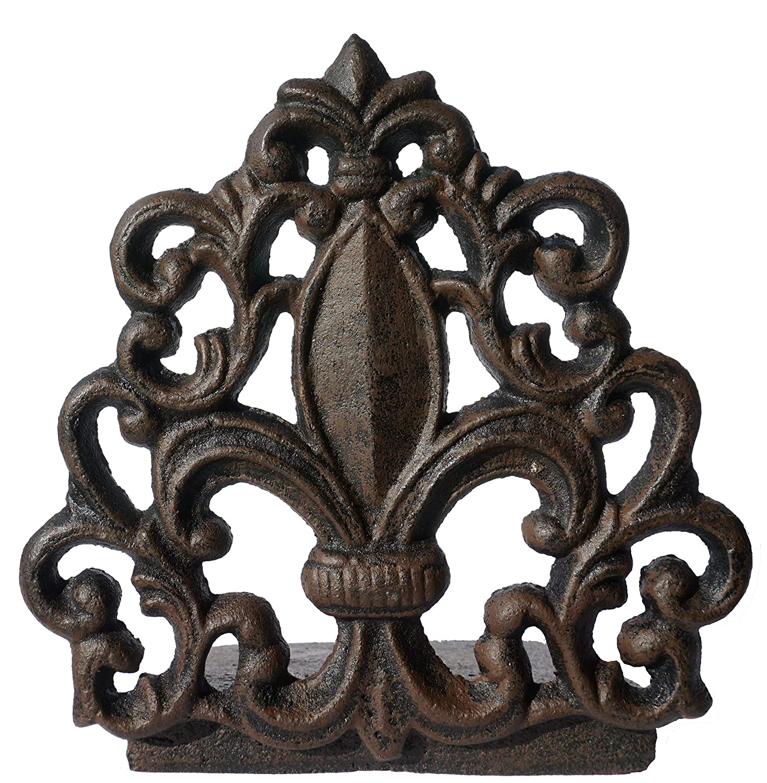 Cast Iron Fleur De Lis Door Stop, Antique Black Finish