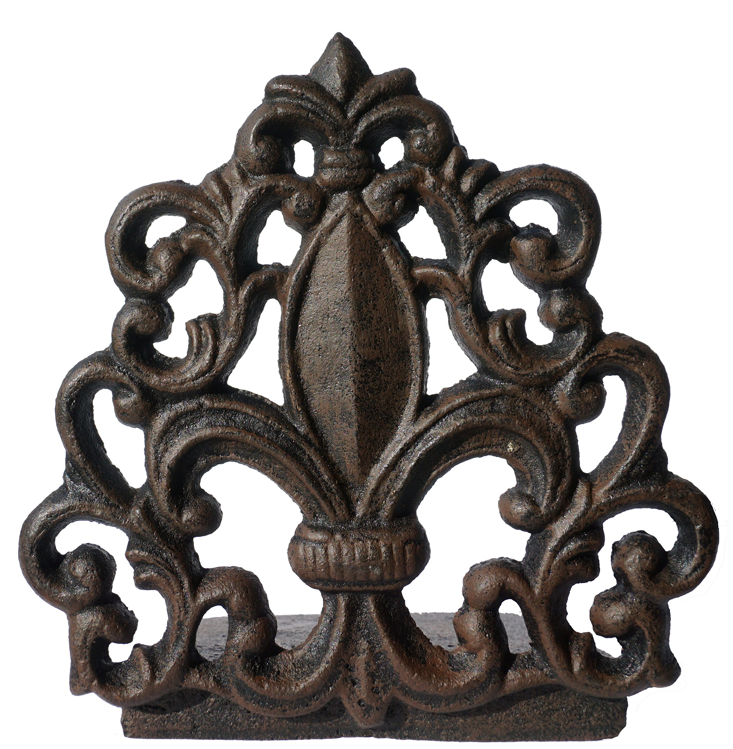 LuLu Decor, Cast Iron Fleur De Lis Door Stop, Door Stopper in Antique Black Finish, Beautiful and Useful Product, Simply Insert Flat Base Underneath Your Door Space, Works Great (LB15BK3) by LuLu