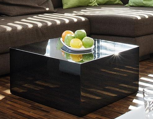 Couch-Tisch schwarz Hochglanz quadratisch aus MDF 60x60cm ...
