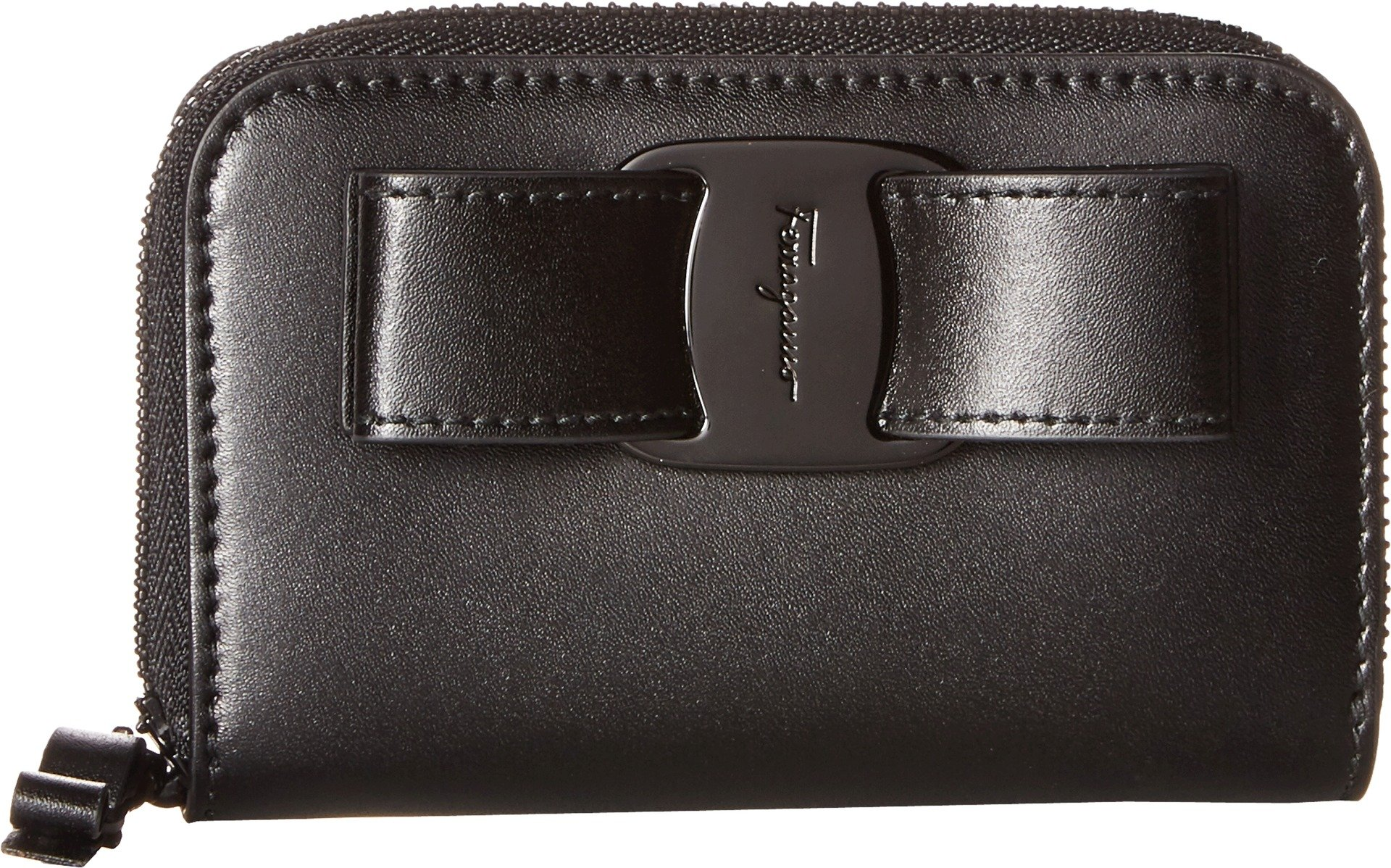 Salvatore Ferragamo Women's Vara Rainbow Zip Around Card Case, Nero, One Size