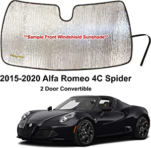 YelloPro Custom Fit Automotive Reflective Front Windshield Sunshade Accessories UV Reflector Sun Protection for 2015 2016 2017 2018 2019 2020 Alfa Romeo 4C Spyder Spider 2 Door Convertible