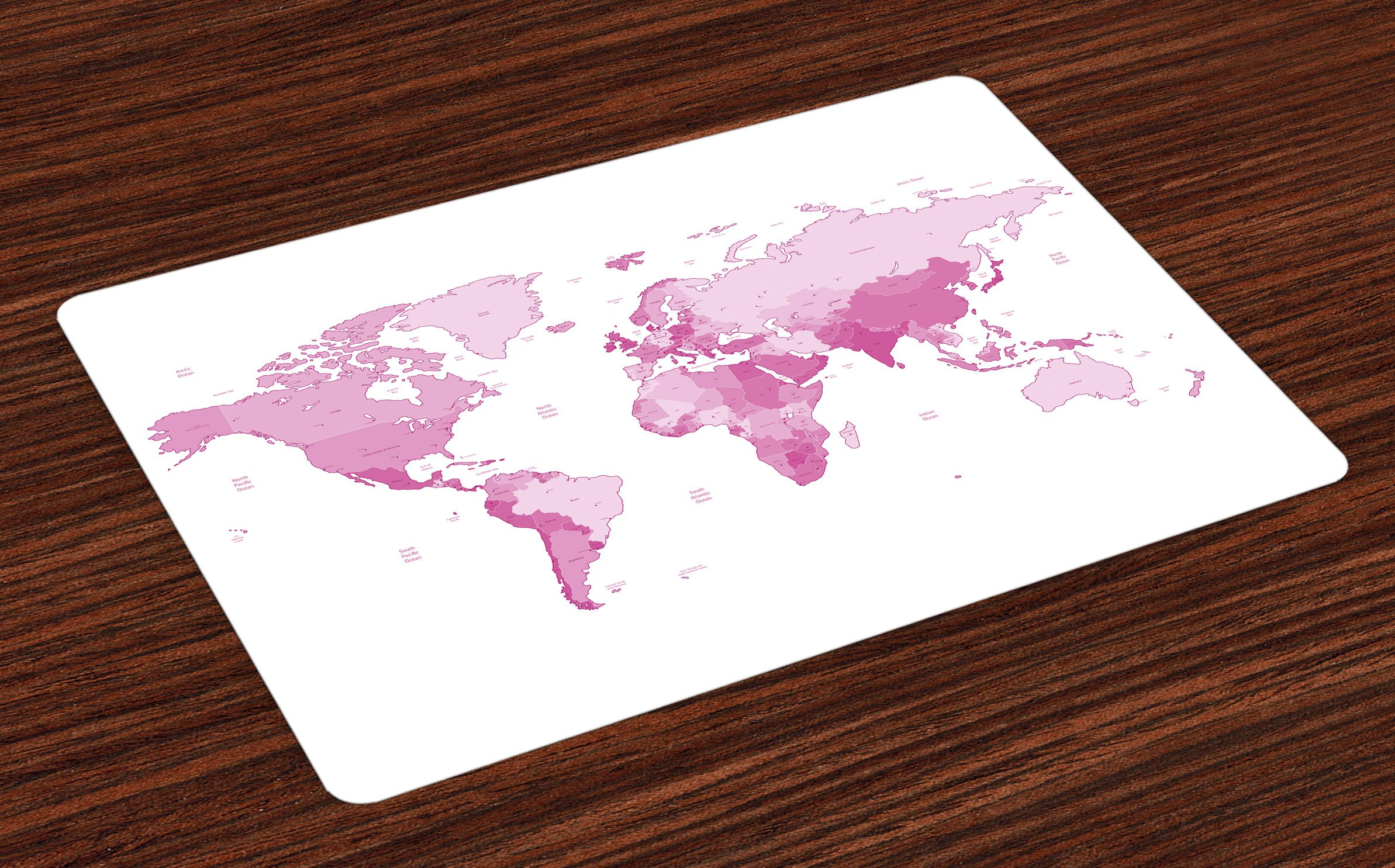 Ambesonne Pale Pink Place Mats Set of 4, Cute World Map Continents Island Land Pacific Atlas Europe America Africa, Washable Fabric Placemats for Dining Room Kitchen Table Decor, White Pale Pink