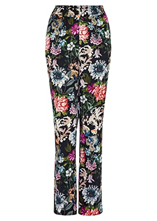 68c69f50f8 Hallhuber Floral Print Twill Trousers 12, Multi-Coloured: Amazon.co ...