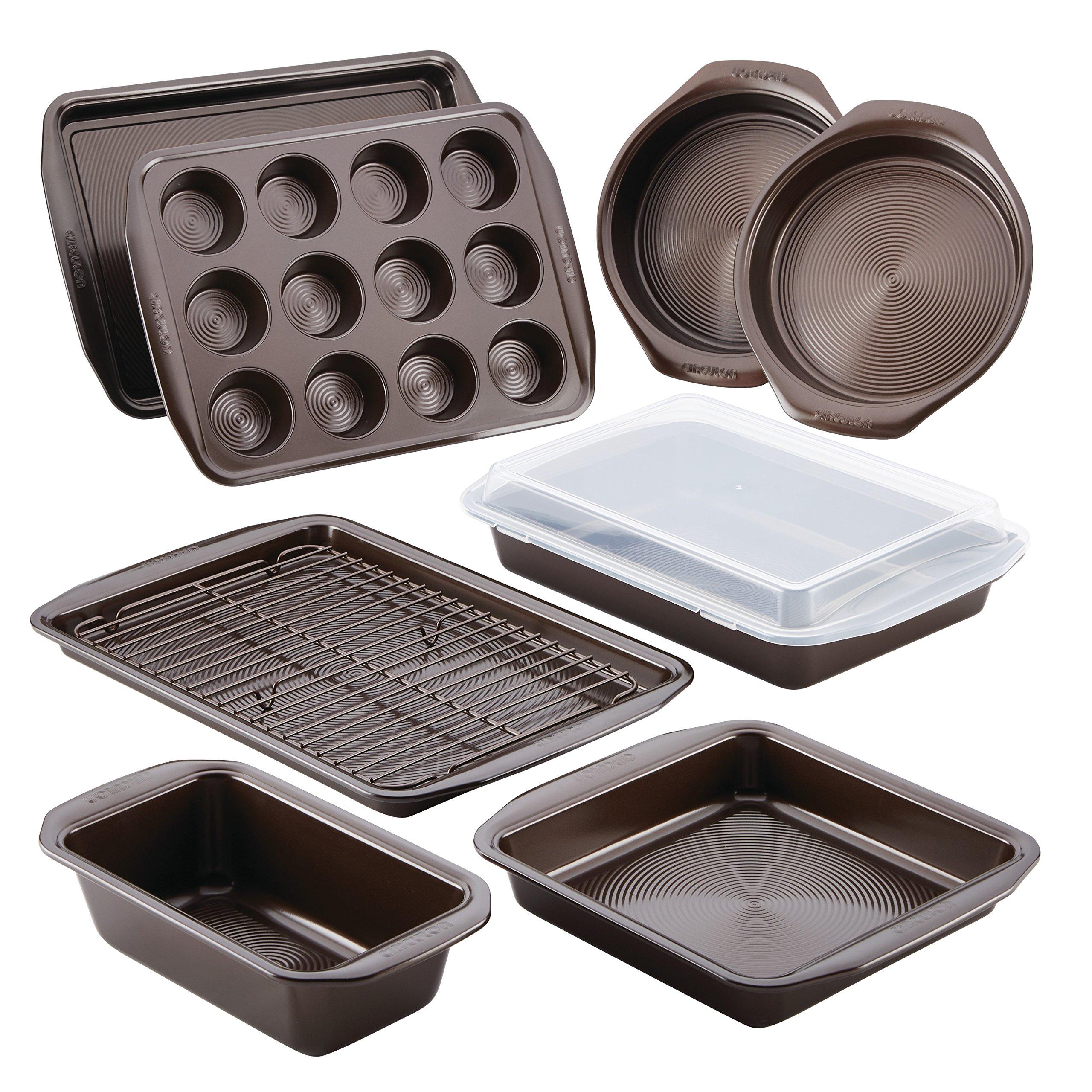 Circulon Nonstick Bakeware 10-Piece Bakeware Set, Chocolate Brown by Circulon