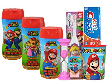 "Super Mario Brothers Girls ""Princess Peach"" All Inclusive Bath Time Stocking Stuffer Set"