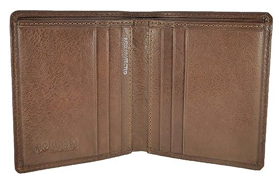 Cartera de piel italiana, con bloqueo RFID para tarjetas de crédito, compacta, delgada, en negro y marrón, para hombre