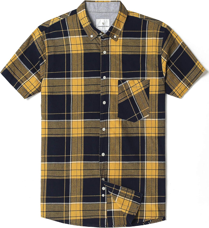 Camisa de cuadros para hombre de manga corta con botones y cuello de cuadros ,Cuadros amarillo/azul marino. ,US XL (EU XL - XXL): Amazon.es: Ropa y accesorios