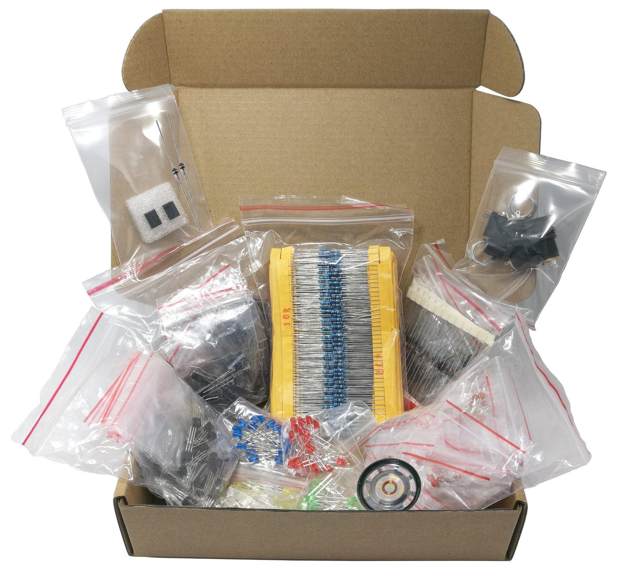 Mega Electronic Component Kit Assortment, Capacitors, Resistors, LED, Transistors, Diodes, 1n270 Germanium, DC jacks, opamp, pcb, speaker, 1406 pcs