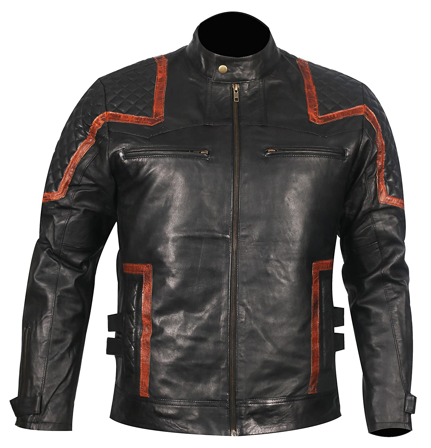 c3b5ee62 Black Men's Vintage Distressed Distressed Distressed Premium BUILD FOR  SPEED Motor Biker Mens Real Leather Jacket b7ae39