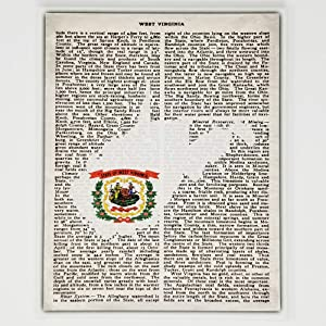 West Virginia Flag Canvas Wall Decor - 8x10 Decorative WV State Map Silhouette Encyclopedia Art Print - Ready To Hang - Home State Love Handmade Gifts - WVA Decorations