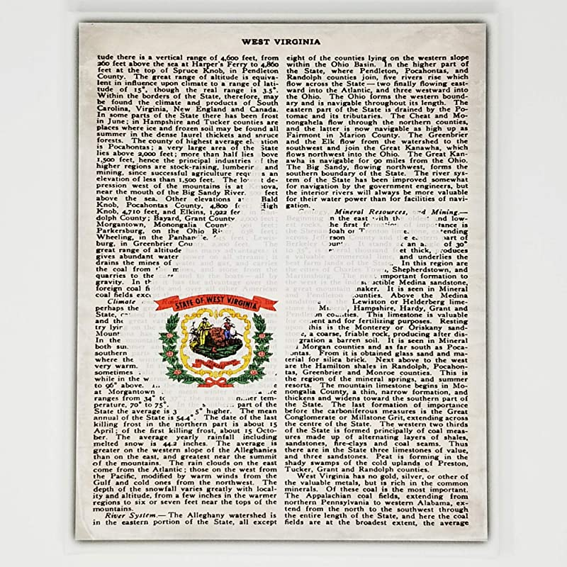 Amazon Com West Virginia Flag Canvas Wall Decor 8x10 Decorative Wv State Map Silhouette Encyclopedia Art Print Ready To Hang Home State Love Handmade Gifts Wva Decorations Handmade
