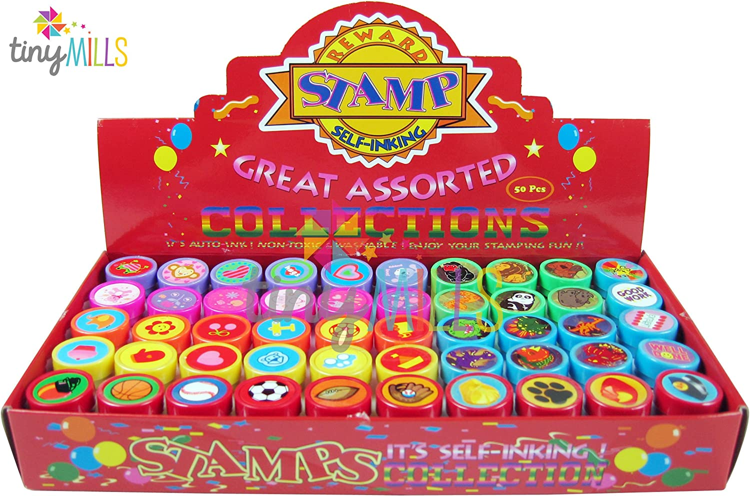 B01F7WOS26 Tiny Mills 50 Pcs Assorted Stampers for Kids - Birthday Party Favors 91xkInXLNTL
