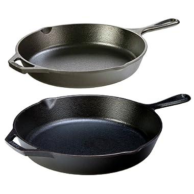 "Lodge Seasoned Cast Iron 2 Skillet Bundle. 12"" + 10.25"" Set of 2 Cast Iron Frying Pans"