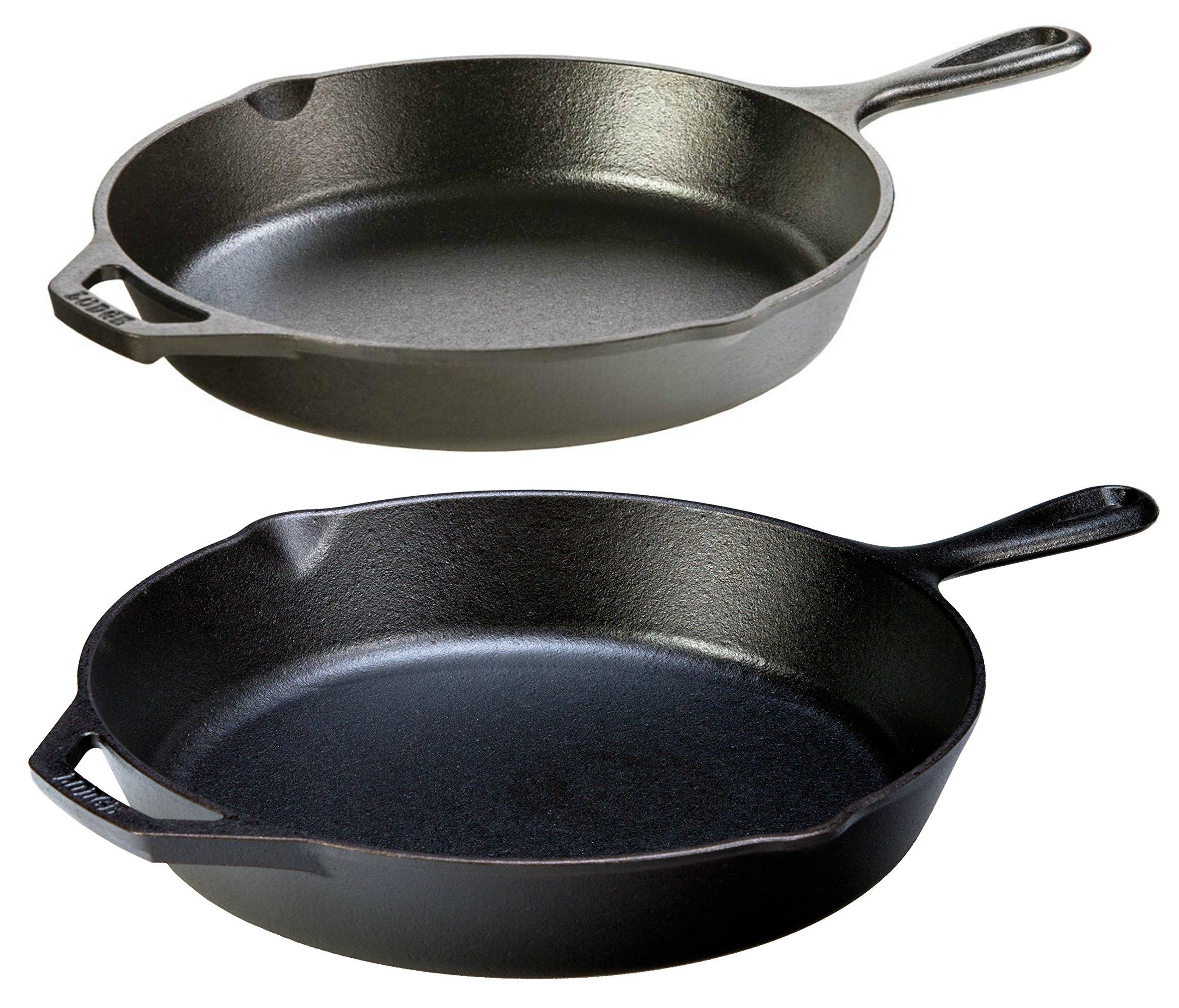 Lodge Seasoned Cast Iron 2 Skillet Bundle. 12'' + 10.25'' Set of 2 Cast Iron Frying Pans by Lodge (Image #1)