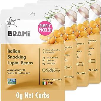 BRAMI Frijoles Lupini, Ajo y Romero | 7 g de proteína vegetal ...