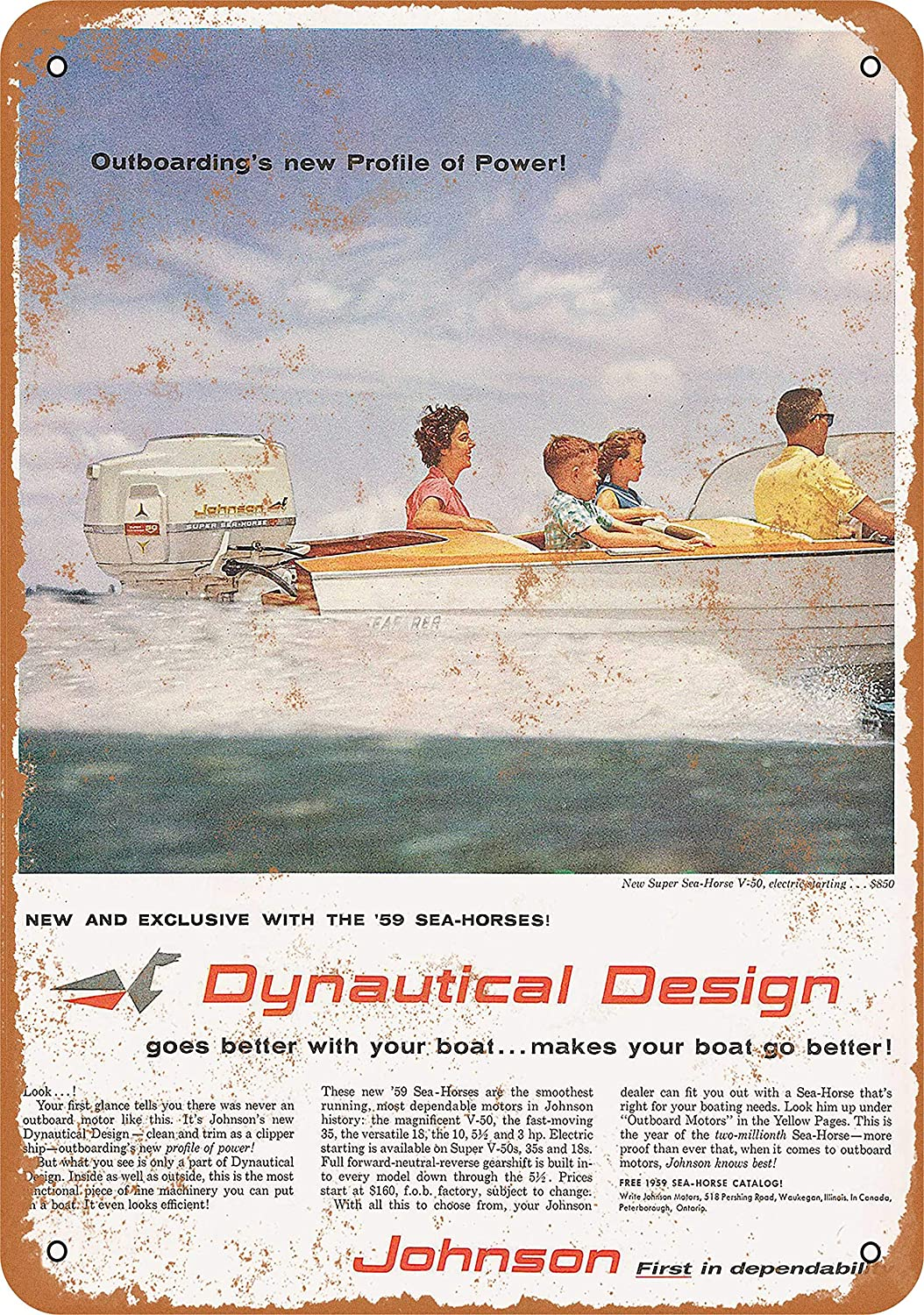 Amazon.com: Wall-Color 10 x 14 Metal Sign - 1959 Johnson Outboard Motors - Vintage Look: Home & Kitchen
