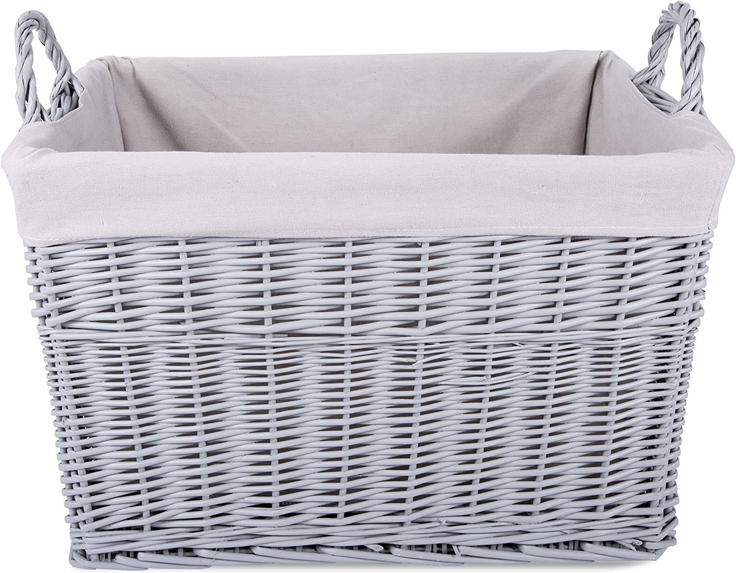 Home Storage Grey Painted Rectangule Wicker Basket Laundry Toys Baby Nursery Collection Box (Medium)
