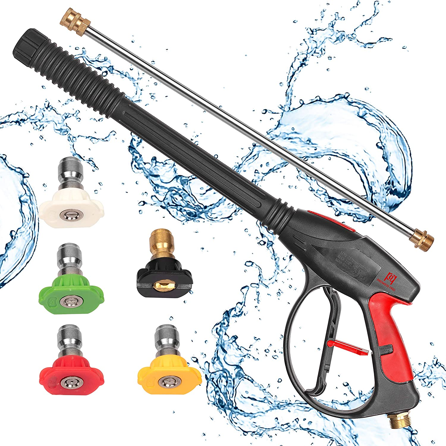 ProwessPro High Pressure Washer Gun 4000 PSI with 21 Inch Extension Wand Lance, 5 Quick Connect Nozzles and M22x14mm Connector