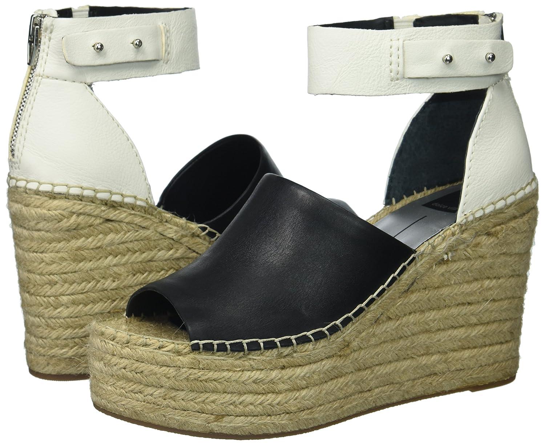 Dolce Vita Women's Straw Wedge Sandal B07543D9BZ 8.5 B(M) US|Black/White Leather