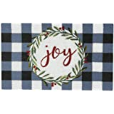 """Elrene Home Fashions Farmhouse Living Holiday Plaid Joy Wreath Coir Doormat for Entryway/Front Door/Porch, 18""""x30"""" Mat"""