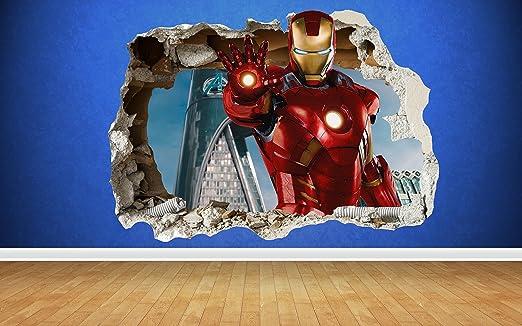 """2 opinioni per Iron Man-rottura da parete effetto 3D, avengers, ironman di """"marvel, mehrfarbig,"""