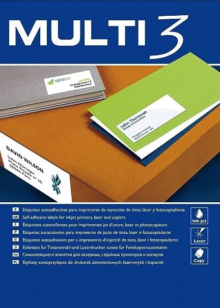 APLI Etiquetas Adhesivas 4719 MULTI3PARA Inkjet/Laser/FOTOCOPIADORAETIQUETAS 52.5X29.7MM40 Etiquetas por HOJA100 Hojas