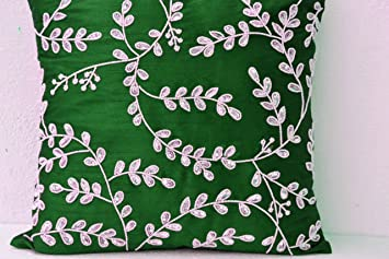 amore beaute decorative throw pillow covers emerald green throw pillows with bead sequin detail