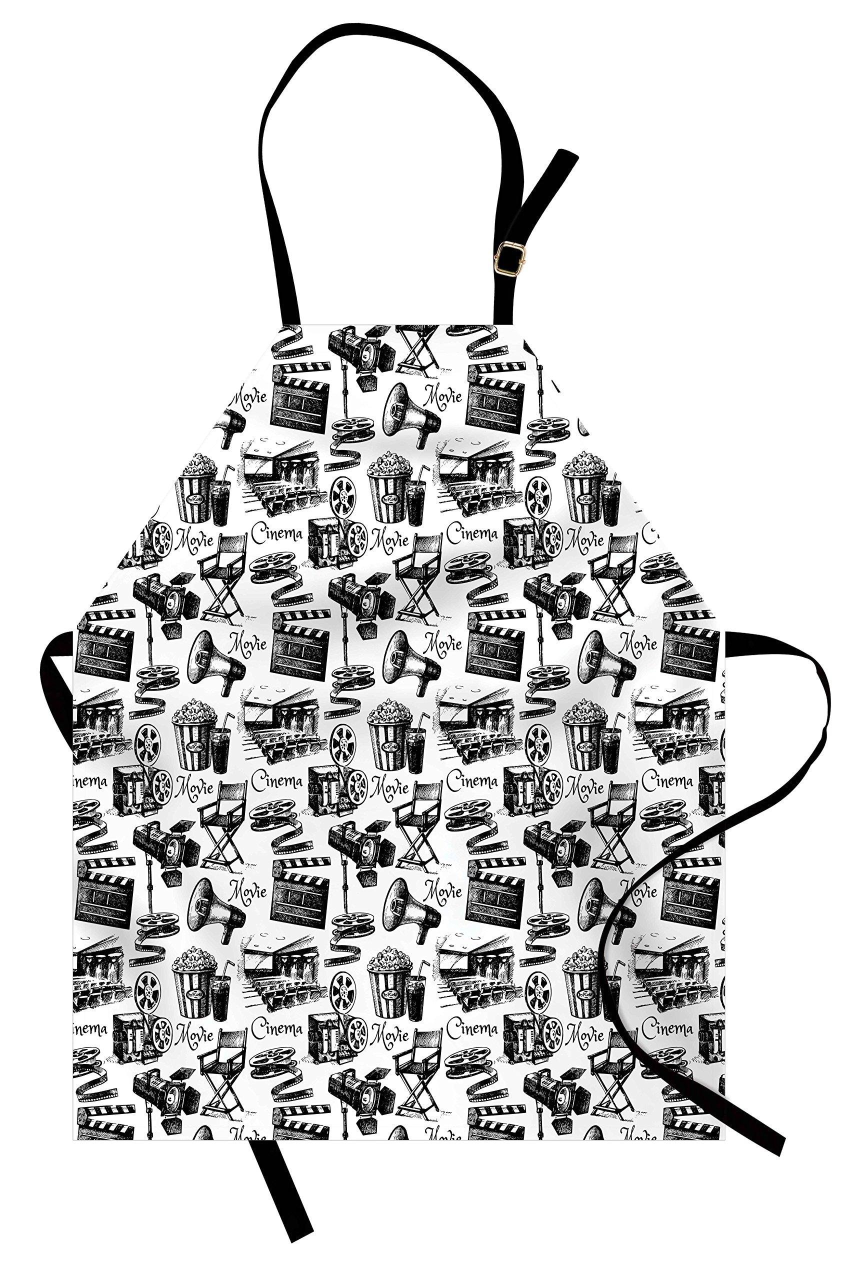 Lunarable Movie Apron, Vintage Artful Film Cinema Icons Motion Camera Action Record Graphic Style Print, Unisex Kitchen Bib Apron with Adjustable Neck for Cooking Baking Gardening, Black White
