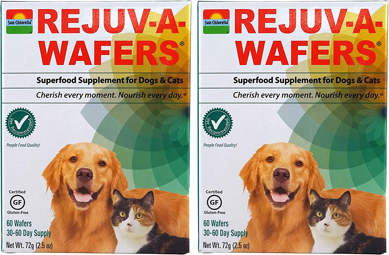 Sun Chlorella- Rejuv-A-Wafers- Chlorella Eleuthero Superfood Supplement for Dogs and Cats 60 Wafers
