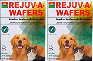 SUN CHLORELLA Rejuv-A-Wafers - Chlorella & Eleuthero Superfood Supplement For Dogs And Cats (60 Wafers) PACK OF TWO