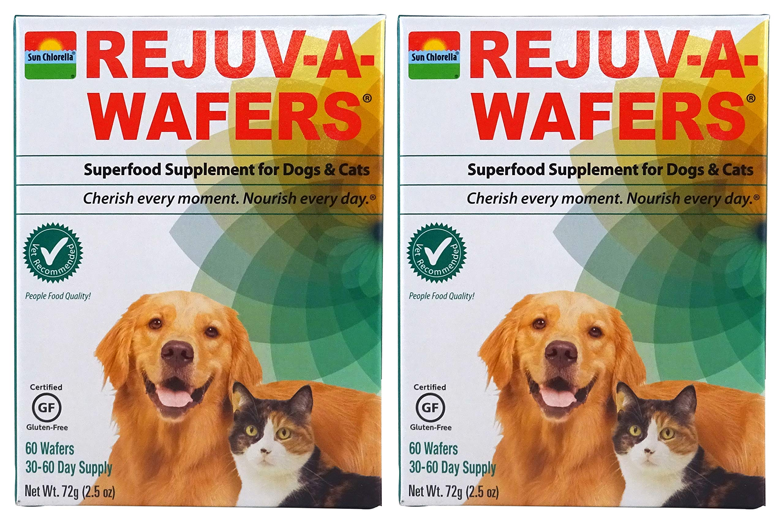 SUN CHLORELLA Rejuv-A-Wafers - Chlorella & Eleuthero Superfood Supplement For Dogs And Cats (60 Wafers) PACK OF TWO by Sun Chlorella