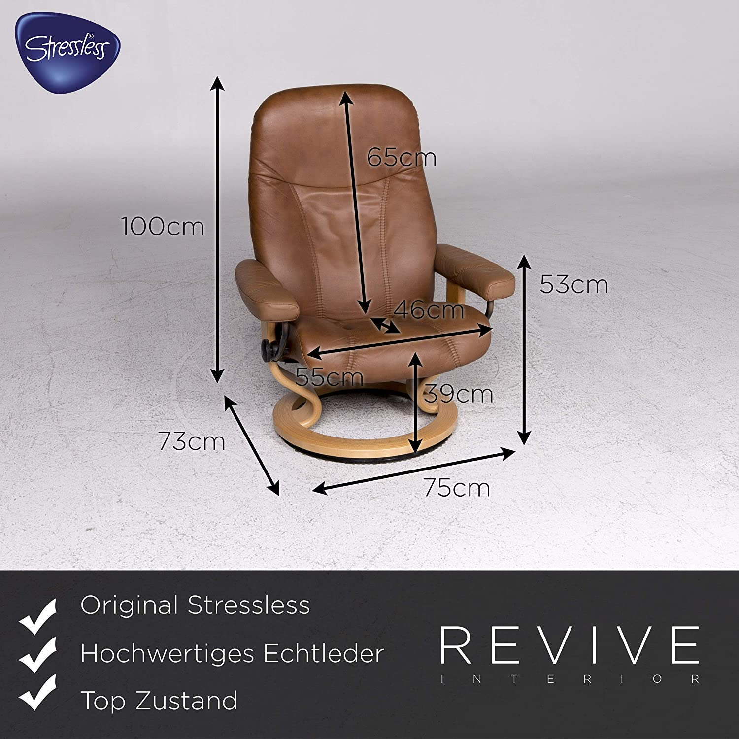 Stressless Designer Leather Armchair Brown Relax Function ...