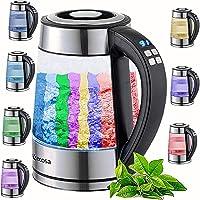Glazen waterkoker, 1,7 liter, 2200 watt, 100% BPA-vrij, roestvrij staal met temperatuurkeuze, led-verlichting in…