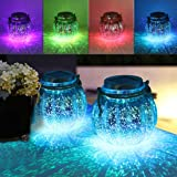 MAGGIFT 2 Pack Solar Lanterns Outdoor Christmas Table Decorations Super Bright LED Lamp Outside Hanging Lights for Tree, Tabl