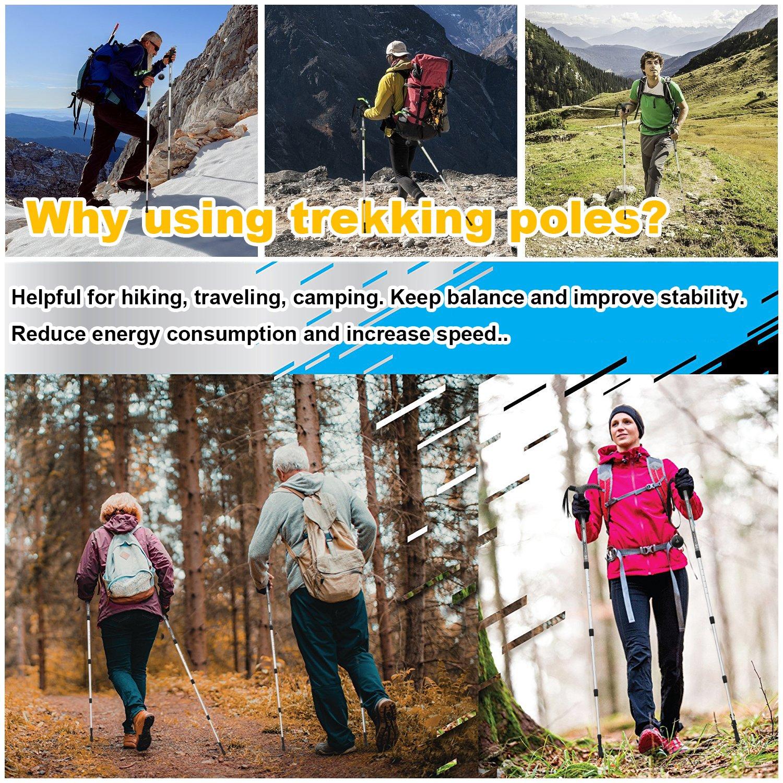 Wrzbest 100/% Carbon Fiber Quick Lock Trekking Poles Mountains Trekking Hiking Walking Ultralight Collapsible with Cork Grips Tungsten Tips