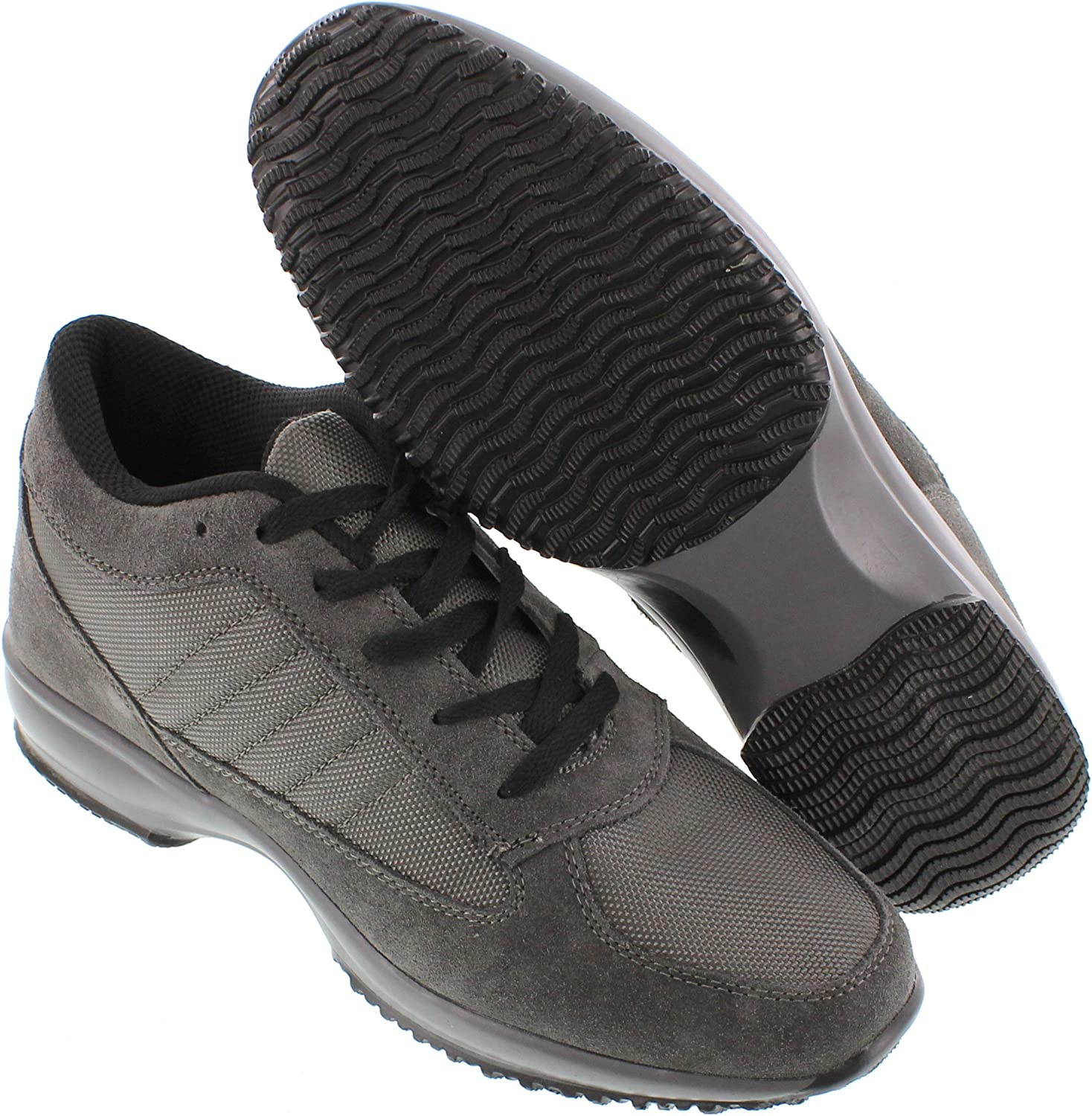 Calden Mens Invisible Height Increasing Elevator Shoes 3 Inches Taller Dark Grey Suede Leather//Mesh Lightweight Trainer Sneakers FD013