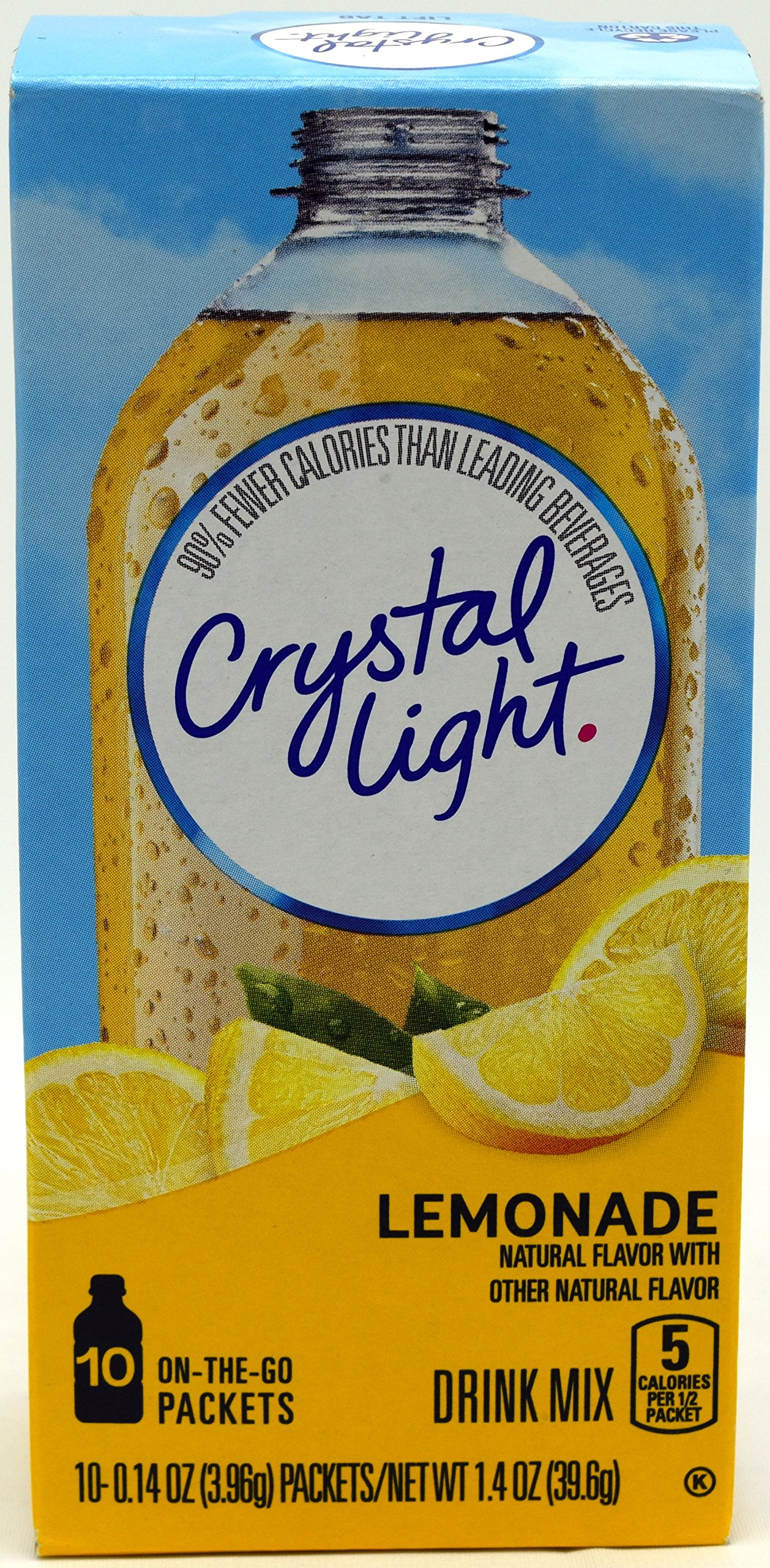 Crystal Light On The Go Natural Lemonade Drink Mix, 10-Packet Box (Pack of 8)