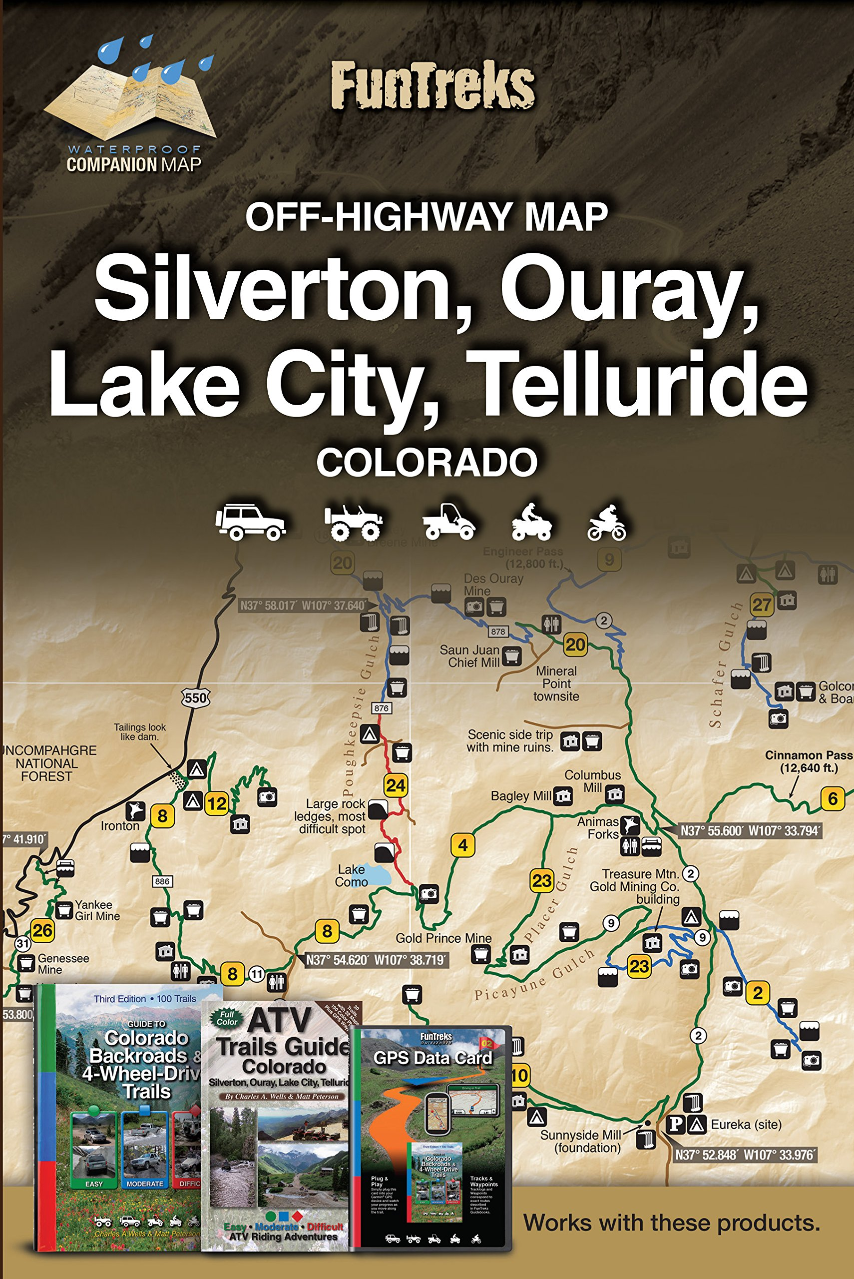 Off-Highway Map for Silverton, Ouray, Lake City, Telluride Colorado ...