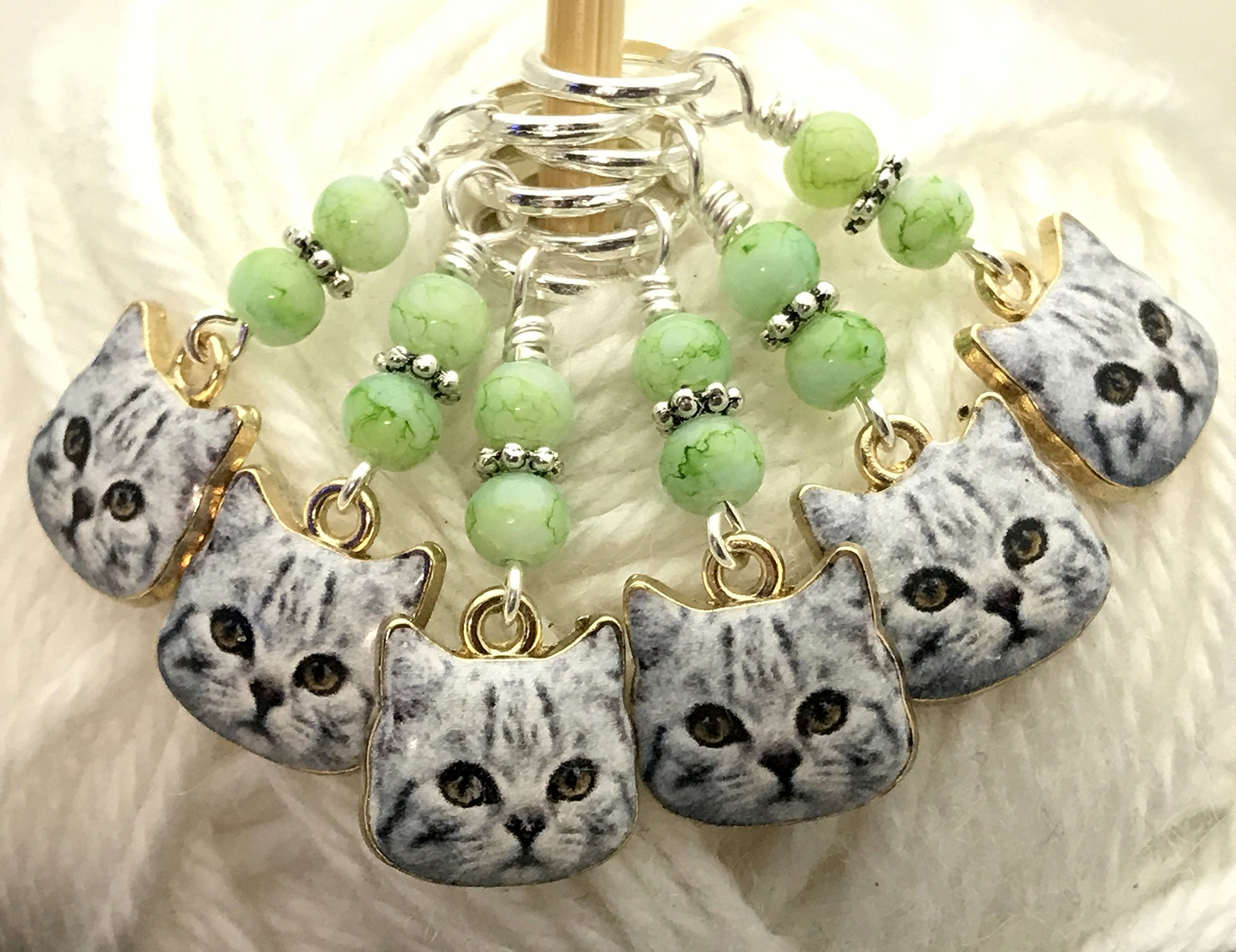 Knitting Stitch Marker Charm Jewelry- Cat Faces by Jill's Beaded Knit Bits