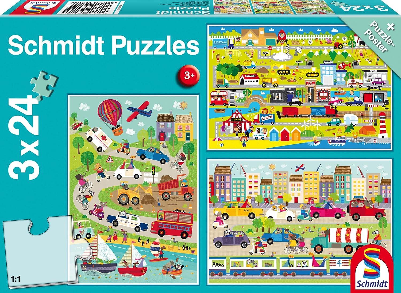 Puzzles & Geduldspiele 3 x 24 Teile Puzzle Spiel Deutsch 2017 Bunte Welt der Fahrzeuge