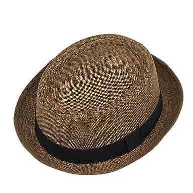 Unisex Mens Women Vintage Crushable Straw Pork Pie Breaking Bad Heisenberg  Hat  Brown 2d1593e1e2ce